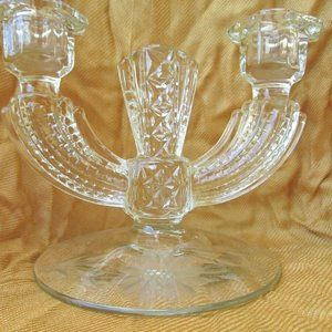 Double Candle Holder Etched Cut Glass Art Deco